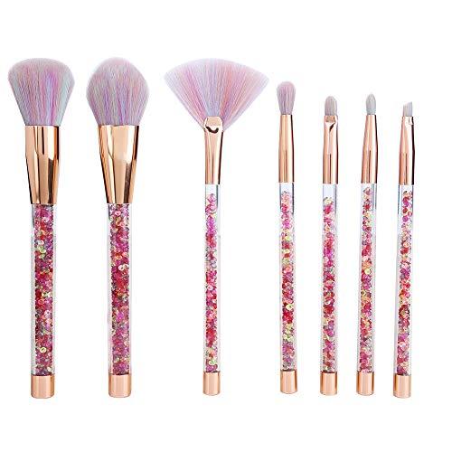 Maquillage Pinceau-Transparent Maquillage Pinceau Poignée en plastique Pinceau à sourcils Eyeliner Brush 7pcs / set