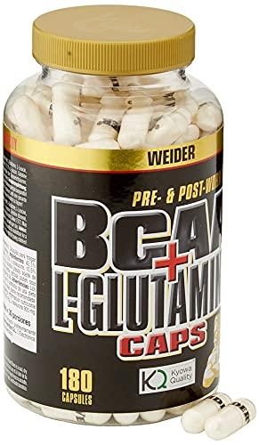 Weider Integratore Alimentare BCAA con L-Glutamina, L-Leucina, L-Isoleucina e L-Valina - 180 Capsule