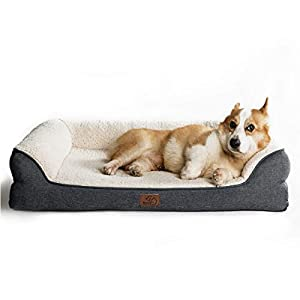 Bedsure Orthopedic Memory Foam Dog Bed Medium – Dog Sofa with Removable Washable Cover & Waterproof Liner, 7 inches Height Couch Dog Beds for Small, Medium Dogs up to 50 lbs