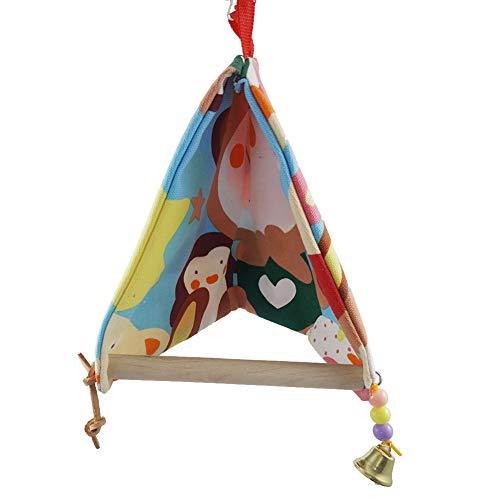 Daxoon papegaai vogelhuis karikatuur patroon dubbel canvas driehoek vogelnest schommel voor huisdieren winter warm