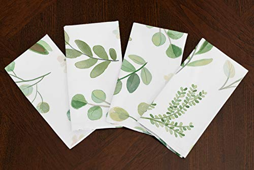 A LuxeHome Green Floral Leaf Botanical Rainforest Watercolor Woodland Tropical Lunch Dinner Napkin Topper Dining Room Spring Kitchen 17' x 17'