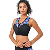 CtriLady High Impact Workout Sports Support Bra Full Cup Top Vest with Removable Pads, Front-Zipper for Women...