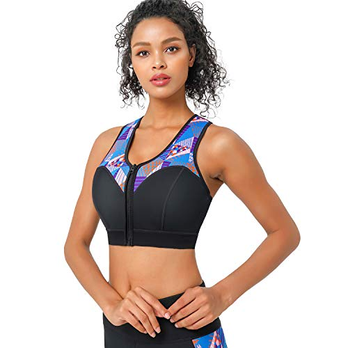 CtriLady High Impact Workout Sports Support Bra Full Cup Top Vest with Removable Pads, Front-Zipper for Women Fitness, Yoga, Diving (Blue&Black, S) …