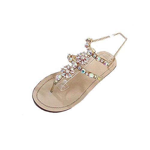 Liquidación de la venta! Sandalias de las mujeres Covermason Summer Flat brillantes Rhinestones cadena T-Strap zapatos cómodos(42 EU, Oro) (Ropa)