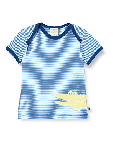 loud + proud Jungen Striped with Print Organic Cotton T-Shirt, Blau (Cobalt Cob), (Herstellergröße: 98/104)