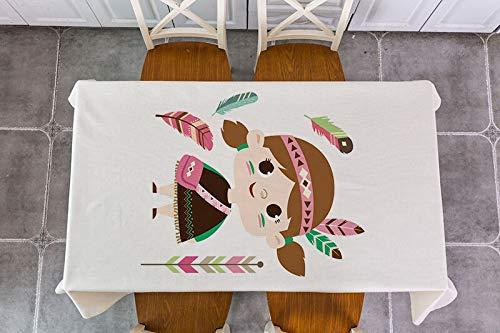 XXDD Mantel de decoración de Flecha de Plumas de Animales de Dibujos Animados Mantel de decoración Impermeable Mantel de Mesa de té A14 150x210cm