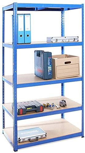 Garage Shed 5 Tier Racking Storage Shelving Units Boltless Heavy Duty Shelves UK,Blue 150x70x30 cm for Books, Kitchenware, Tools Bolt-Free 875kgs