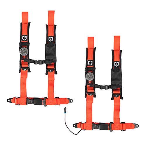 Pro Armor 4-Point RZR Harness UTV Seat Belt Auto Style Bypass Clip Orange Driver Passenger Side