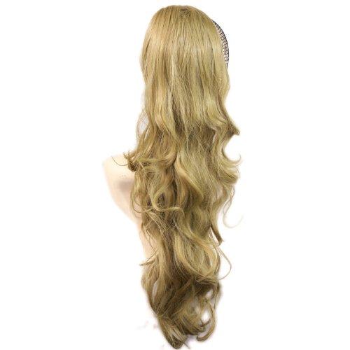 NOUVEAU Clip Extension de cheveux Queue de Cheval Longue et Ondulée Blond Doré Barrettes
