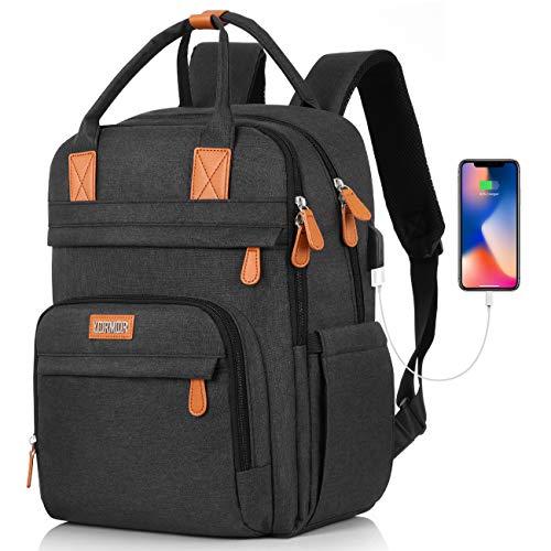 YIORMIOR Rucksack Damen Schulrucksack, für 15.6 Zoll Laptop Rucksack Arbeit Wasserdicht Business Daypacks Mädchen Teenager mit USB Ladeanschluss, Oxford, 20-40L