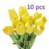 ZOZOSEP Amarillo de la Flor Artificial 10pcs del tulipán con Las Hojas por un Ramo de la Boda Decoración