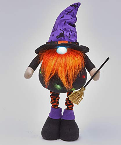 The Lakeside Collection Lighted Halloween Standing Gnome Tabletop Figurine with Broom