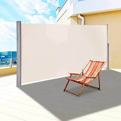 VEVOR Toldo Solar Retráctil, Pantalla de Alta Privacidad 160X300cm,Toldo Lateral de Aluminio Separador Retráctil Terraza, para Patio Jardín