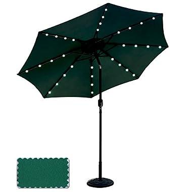 ABCCANOPY 9 FT Solar Powered Patio Umbrella 32LED Lights Solar Umbrella with Tilt and Crank (Forest Green)