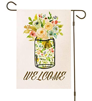 ZanLLW Welcome Flower Garden Flag, Small Size Burlap Double Sided Decorative Flag, Fall Summer Seasonal House Yard Flag, Garden Yard Banner and Decorations, Vertical Outdoor Flag, 12.5x18 Inches