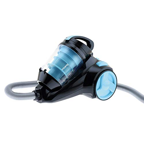 H.Koenig Aspirateur sans sac SLS890 Special Animaux polycyclonique traineau bleu, classe AAA, Puissant, Compact, Efficace, Silencieux, filtre HEPA, brosse poussière, turbo et toilettage et suceur plat