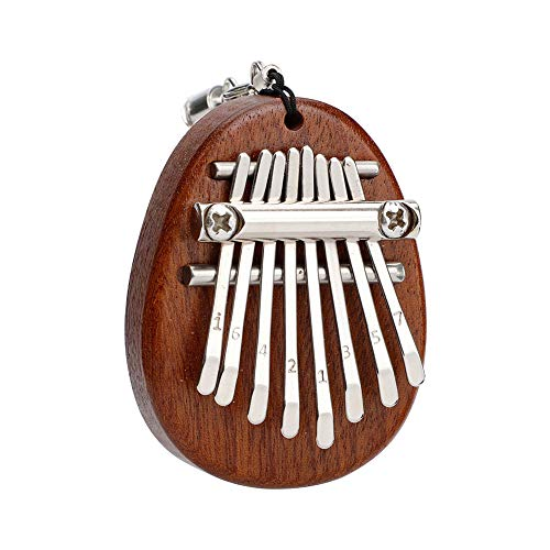 QOONESTL 8 Key Thumb Piano,Pocket Thumb Finger Piano,Beginners Musical Mini Kalimba,Christmas Birthday Present Gifts for Beginner and Music Lover,Dark Brown