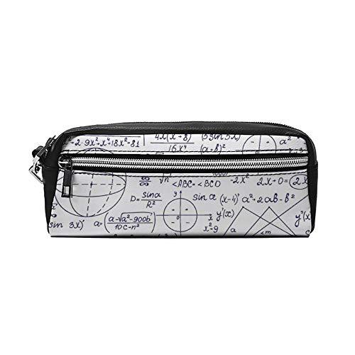 School Genius Smart Student Math Geometry Science Numbers Formules Afbeelding Kunst PU Lederen Potlood Case Make-up Bag Cosmetische Tas Potlood Tas met Rits Reizen Toilettas voor Vrouwen Meisjes