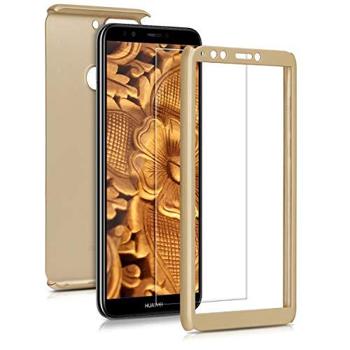 kwmobile Hülle kompatibel mit Huawei Y7 (2018)/Y7 Prime (2018) - komplette Abdeckung - inkl. Bildschirmschutz - Hülle Metallic Gold