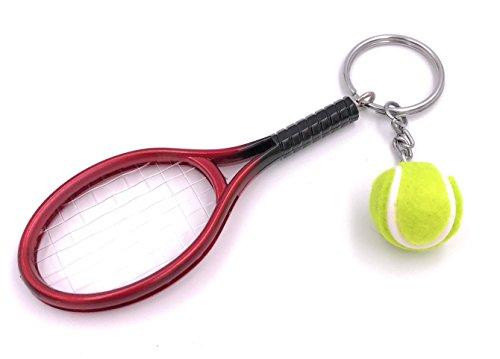 H-Customs Tennis Tennisschläger mit Ball Anhänger Schlüsselanhänger Handtaschenanhänger