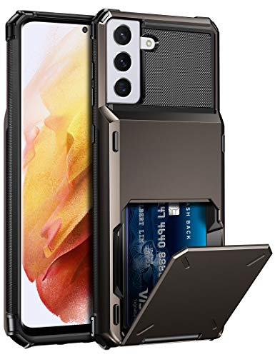 ELOVEN for Samsung Galaxy S21 Plus 5G Case Wallet Galaxy S21 Plus Case with Card Holder Hidden Credit ID Card Slot Shock Absorption Rugged Bumper Hard PC Case for Galaxy S21 Plus 5G 6.7 inch Gun Metal