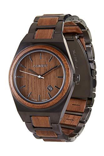 LAiMER Holzuhr - Herren Quarz Armbanduhr Carlo aus Nussholz - Analog, Datumsanzeige, Ø 42mm - Zero Waste Verpackung aus Naturholz