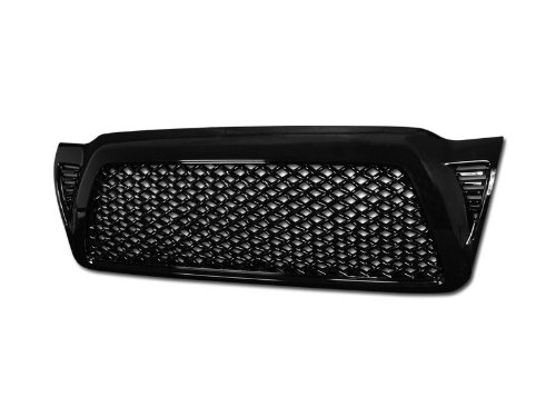 R&L Racing Glossy Black Finished Front Grill Dragon Style Mesh Hood Bumper Grille Cover 2005-2011 For Toyota Tacoma
