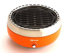 Award-winning design Nearly Smokeless/Reduces smoke by 90% Easy-light ignition Uses only 8 charcoal briquettes per hour Battery operated fan control (Requires 4 X AA Batteries - not included)Safe-touch design Easy to clean Comes with carrying case an...