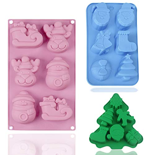SUNTRADE Christmas Silicone Baking Molds,for Candy, Pudding, Ice Cube, Handmade Soap, Cake Decoration,Set of 3(Random Colors)