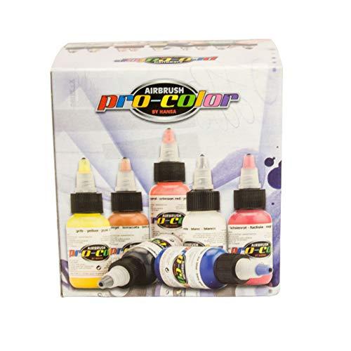 Hansa Pro-Color Kit 5 opake Airbrush-Farben + je 1 Reiniger 30 ml