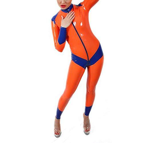Damen Sport Fitness Orange Latex Enge Kostüme Latex Ganzanzug Für Mädchen Latex Body Mit Frontreißverschluss-Orange_M