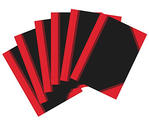 Landre China-Kladde A5 kariert, 96 Blatt, Notiz-Buch in schwarz rot, 6 Stück