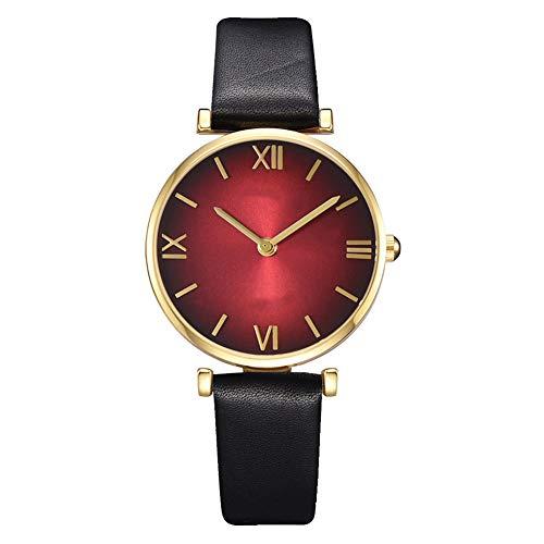 ZX Reloj Casual para Mujer, Niña, Correa De Cuero, Reloj De Cuarzo Analógico Redondo De Moda, Regalo para Mujer