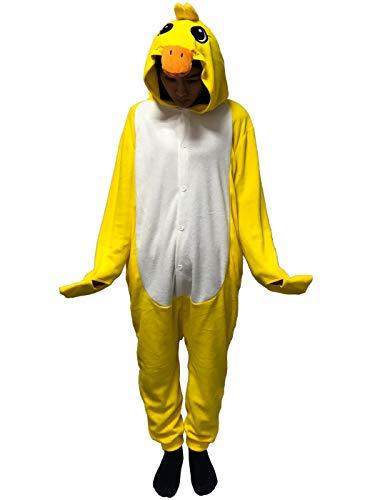 Unisex-Adult Costume Anime Cartoon Onesie Pajama Lounge wear Christmas Yellow Duck
