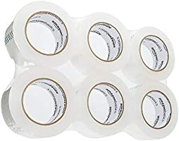 "AmazonBasics Moving and Storage Packing Tape, 1.88""W x 109 Yards, Clear, 6-Pack"
