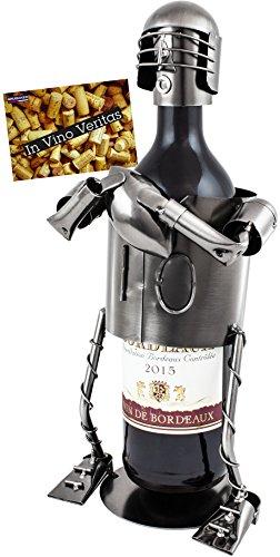 BRUBAKER Weinflaschenhalter Footballspieler Flaschenständer Deko-Objekt Metall mit Grußkarte für Weingeschenk