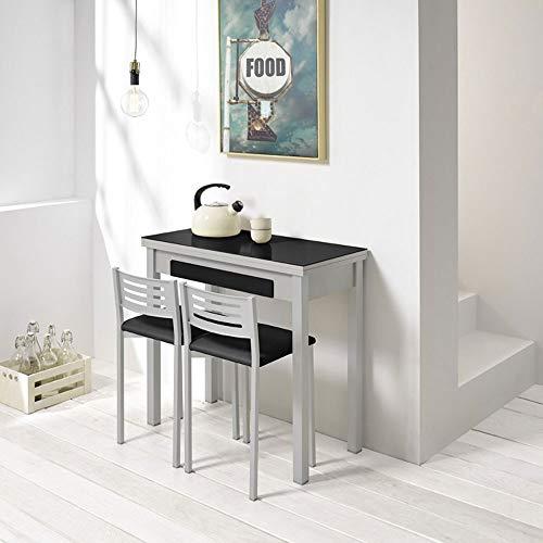 fanmuebles - Mesa desplegable Cocina Cristal Negro con cajón Andrea - 90 x 45 cm