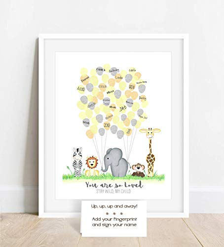 Personalized Jungle Safari Animal Fingerprint Poster with Jungle Animals Holding Balloon Strings, Unframed, MeganHStudio