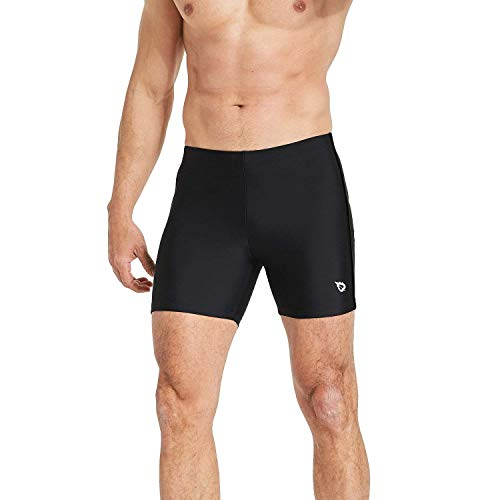 BALEAF Mens' Athletic Quick Dry Compression Square Leg Jammers Swim Brief Swimsuit Black Black Size S