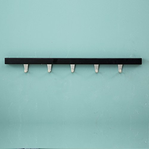 Skc Lighting-Coat étagère Porte-Manteaux Fixation Murale en Bois Massif Simple et Moderne en Acier Inoxydable Crochets de Porte d'entrée Murale Supports muraux (5 Crochets) Noir, Blanc