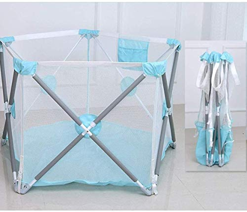 Playpens Indoor Infant Safety Fence Pliable Baby Crawling Mat Toddler Fence Play Pen Safety (Couleur: Bleu)