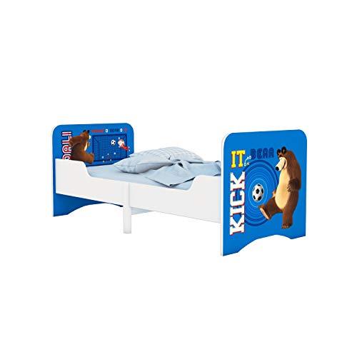 Ausziehbares Kinderbett Polini Kids Fun Mascha und der Bär blau Mitwachsend, Länge einstellbar