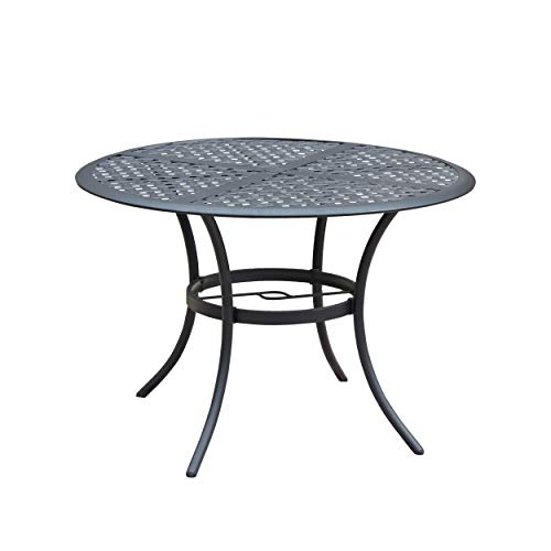 LOKATSE HOME 42.1'' Outdoor Patio Bistro Metal Wrought Iron Round Dining Table with Umbrella Hole - Black