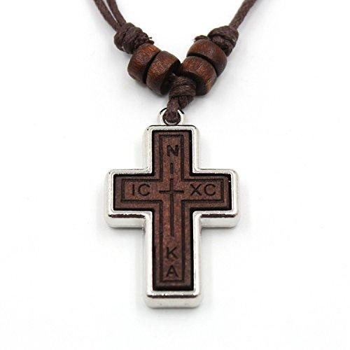 Vacanala Halskette mit Anhänger aus Olivenholz russisch-orthodoxes Kreuz, Hanfschnur, für Damen, Herren und Kinder (Nika, ICKC)