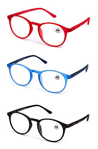 Gafas de Lectura Vista Cansada Presbicia, Graduadas Dioptrías,Gafas de Hombre y Mujer Unisex con Montura de Pasta, Bisagras de Resorte, Para Leer, Ver de Cerca. Pack de 3 (+250 Pack de 3)