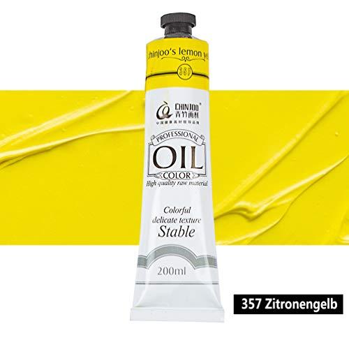 Ölfarbe in 18 Tönen je 200ml Feine Farben für Malen (24,95€/L) (357 Zitronengelb)