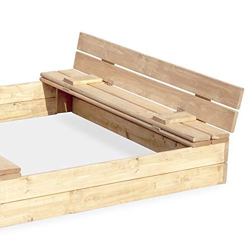 Sandkasten Sandbox Sandkiste mit Klappdeckel Sitzbänken 120x120x20 Kiefernholz mit Anti-Unkraut Bodenplane Deckel und Bank Buddelkasten Quadratisch Gartenspiel Natur Nicht lackiert - 8
