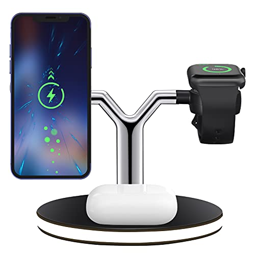 Kacsoo Cargador Inalámbrico Rápido Magnético Wireless Charger Compatible con iPhone 12 11 Pro MAX Se XR x 8 Plus, Teléfono De Carga Inalámbrica Android, Iwatch 6 5 4 3 2 1, Air Po DS (Black)