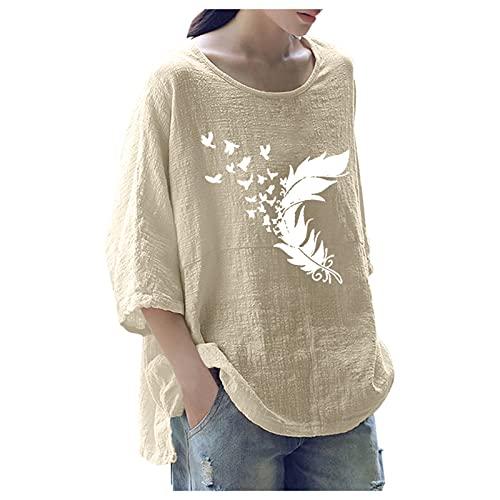 URIBAKY - Camicetta da donna stampata alla moda, con scollo rotondo, top a maniche lunghe, con stampa Streetwear, B-beige, XL