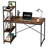 Bestier Computer Desk with Storage Shelves 47 Inch Home Office Desk Writing Table Rustic Brown